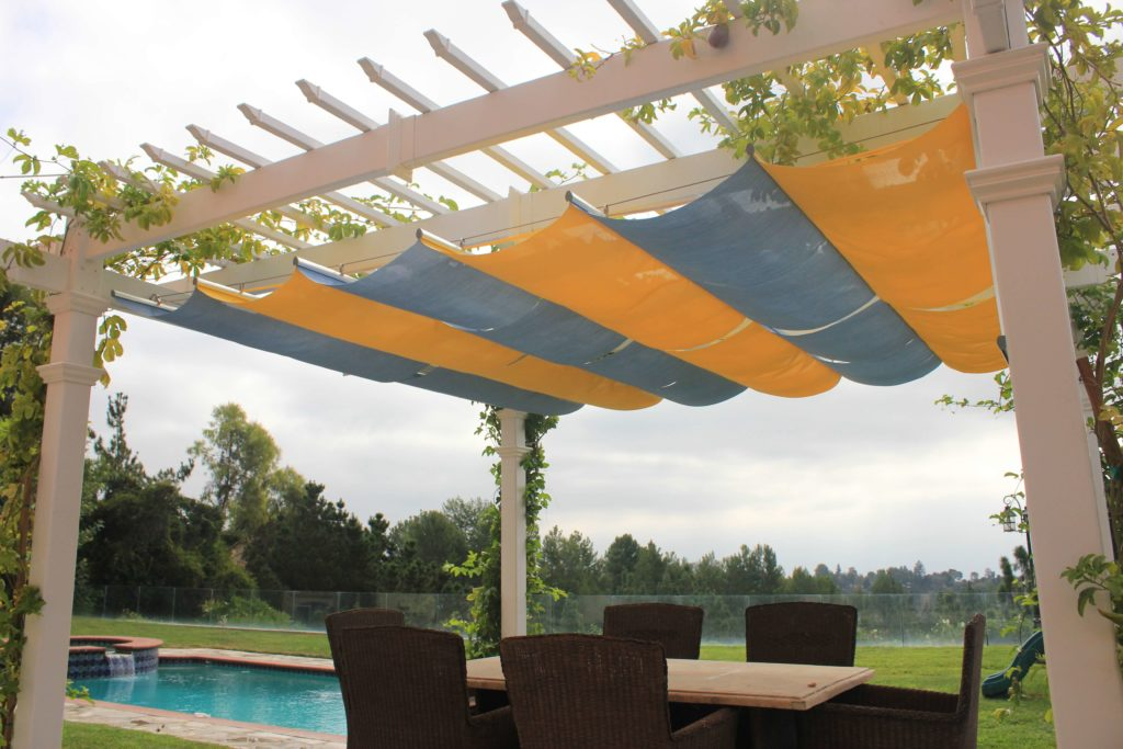 Retractable Canopy blue and yellow